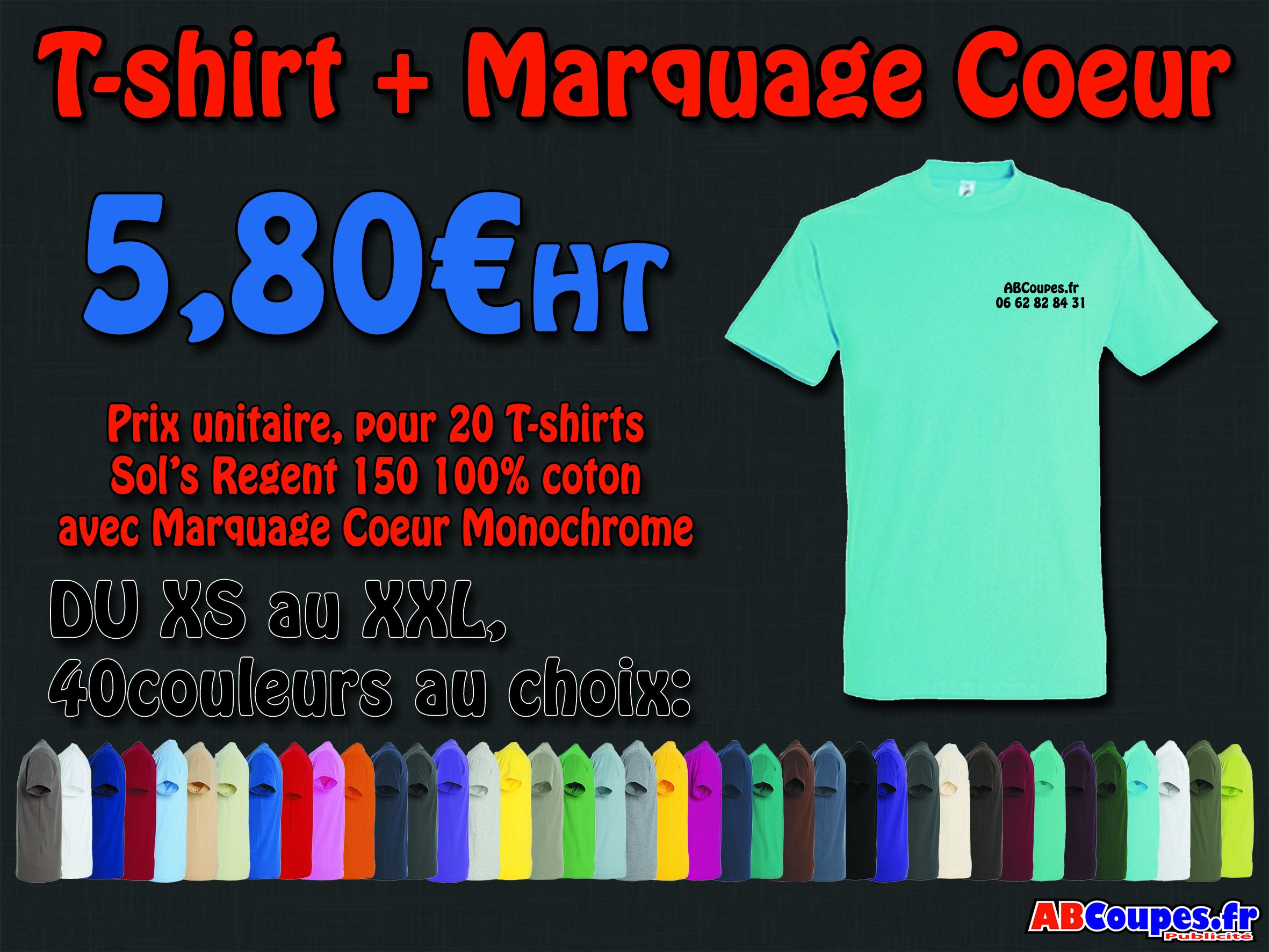 Tshirts avec marquages cœur pour 5,80€Ht