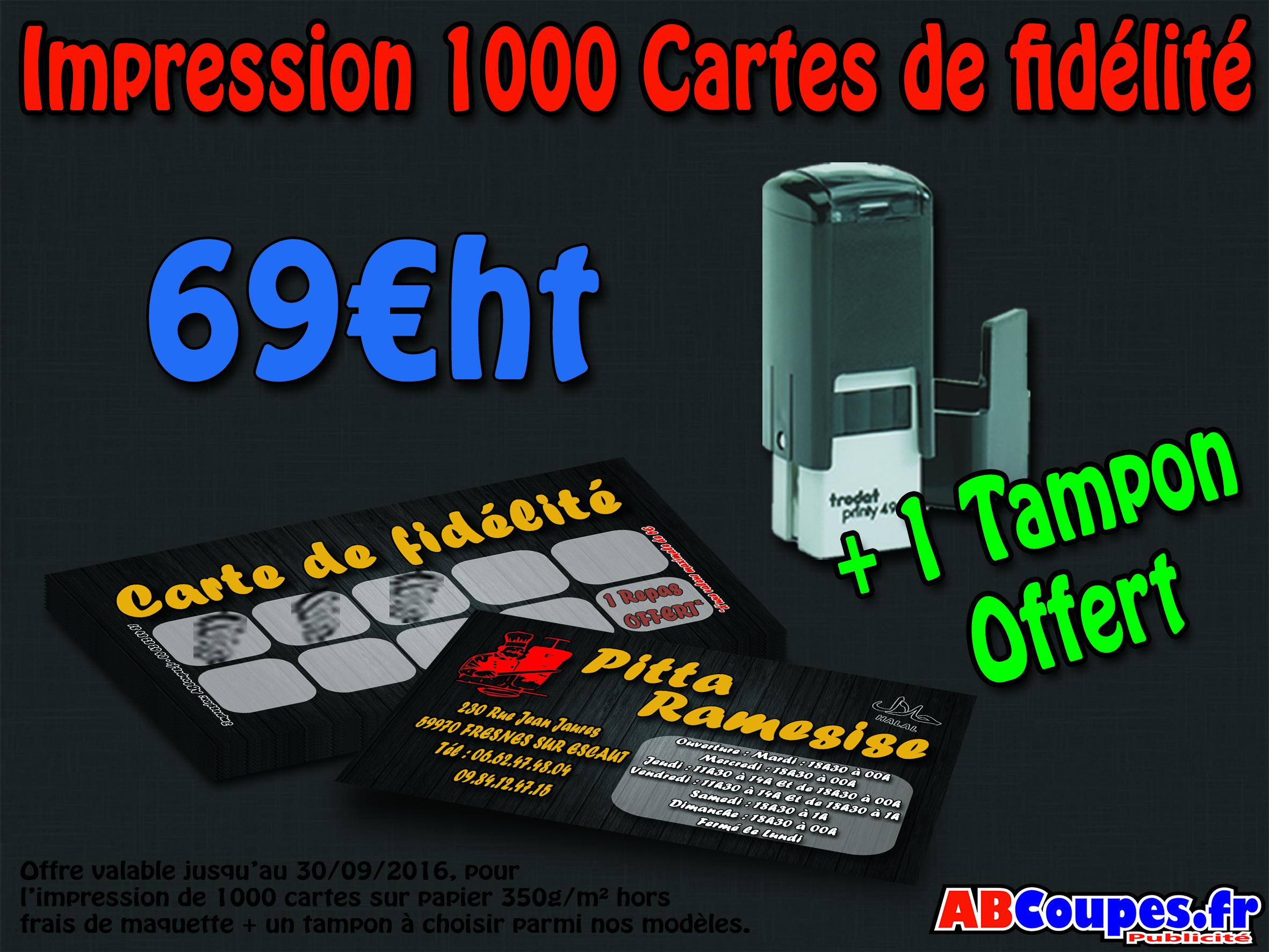 1000 Cartes de fidélité pour 69€HT + 1 tampon offert