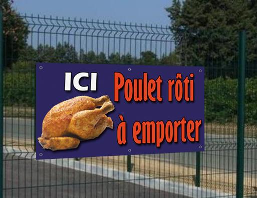Banderole Ici Poulet rôti à emporter, seulement 29€HT