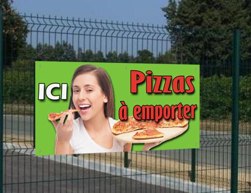 Banderole Ici Pizzas à emporter, seulement 29€HT